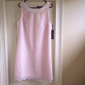 Karl Lagerfeld pink lace overlay sheaf dress 14